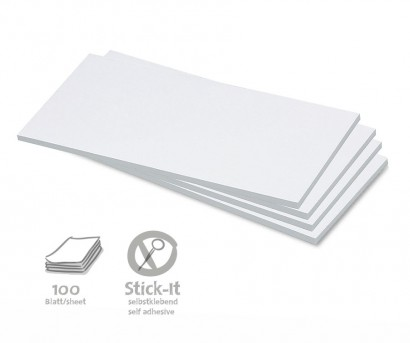 100 Rectangular Stick-It Cards, single colours