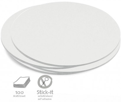 100 Large Circular Stick-It Cards, single colours