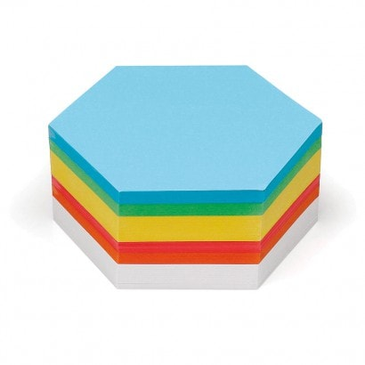 500 Hexagonal Pin-It Cards, assorted colours